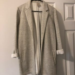 Gray Unstructured Sweatshirt Blazer